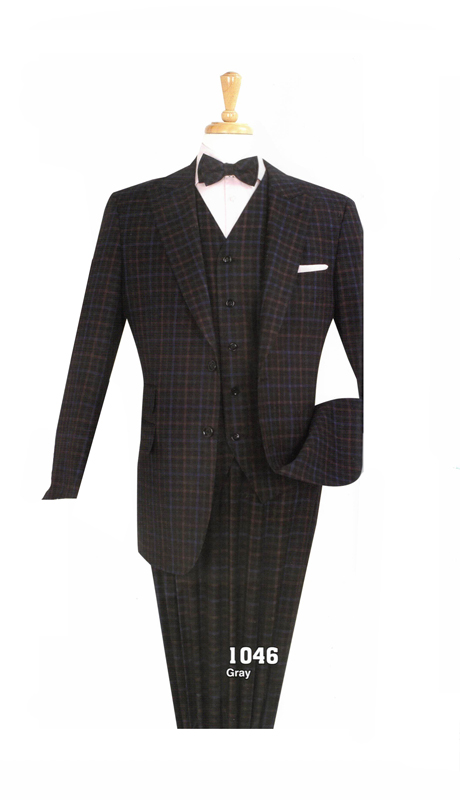 Iconic 1046 ( 3pc Mens High Fashion Suit With Semi Wide Leg Pants )