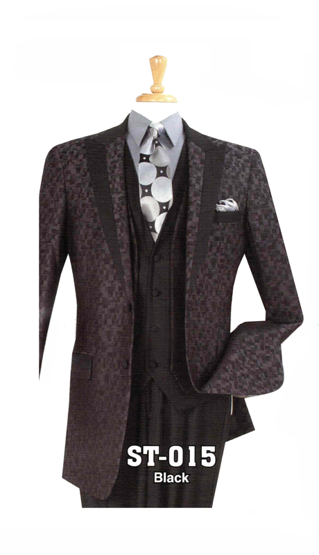 Iconic ST-015 ( 3pc Mens High Fashion Suit With Patterned Jacket )