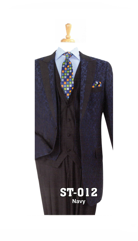Iconic ST-012 ( 3pc Mens High Fashion Suit With Patterned Jacket )