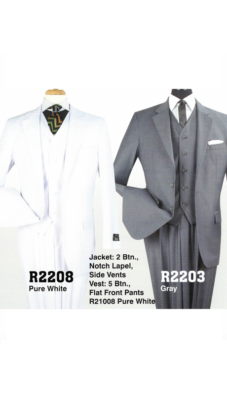 Iconic R2203 ( 3pc Mens Suit With 2 Button Jacket, Notch Lapel, Side Vents, And Flat Front Pants )