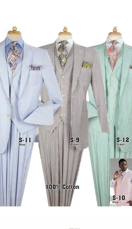 Iconic S-9 ( 3pc Mens Fashion Seersucker Suits )