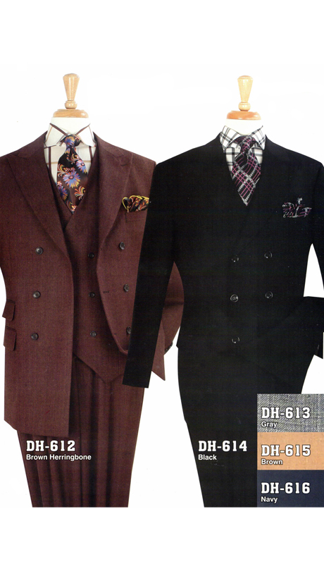 Iconic DH-612 ( 3pc High Fashion Double Breast Suit With Vest And Pleated Pants, Super 150's )