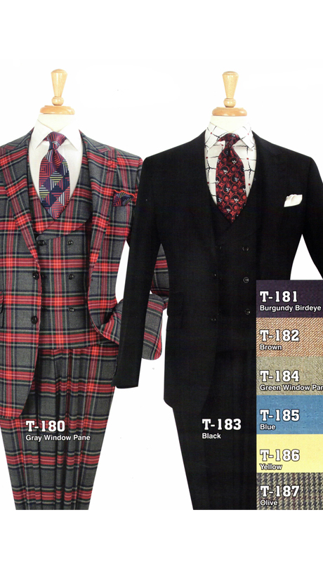 Iconic T-180 ( 3pc High Fashion Suits With Vest And Pleated Pants, Super 150's )