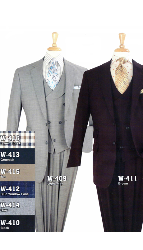 Iconic W-409 (  3pc High Fashion Suits With Vest And Semi-Wide Leg Pants, Super 150's )