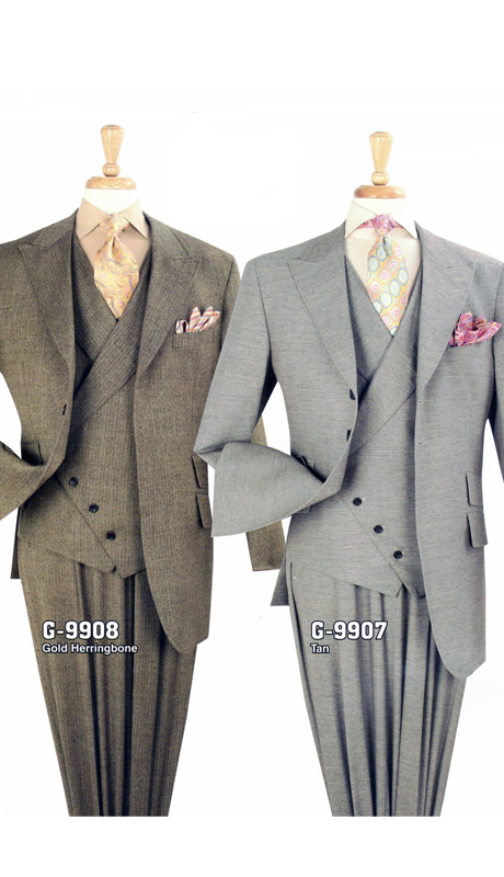 Iconic G-9908 ( 3pc High Fashion Suit With Vest And Semi-Wide Leg Pants, Super 150's )