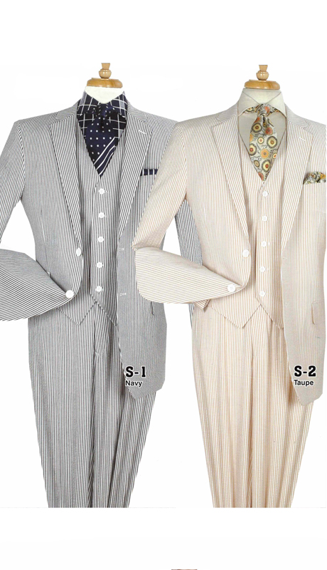 Iconic S-1 ( 3pc Mens Classic Seersucker Suits With Flat Front Pants )