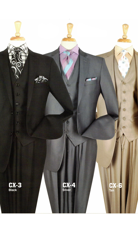 Iconic ST-008 ( 3pc Luxury Suit With Vest And Semi Wide Leg Pants, Super 130's )
