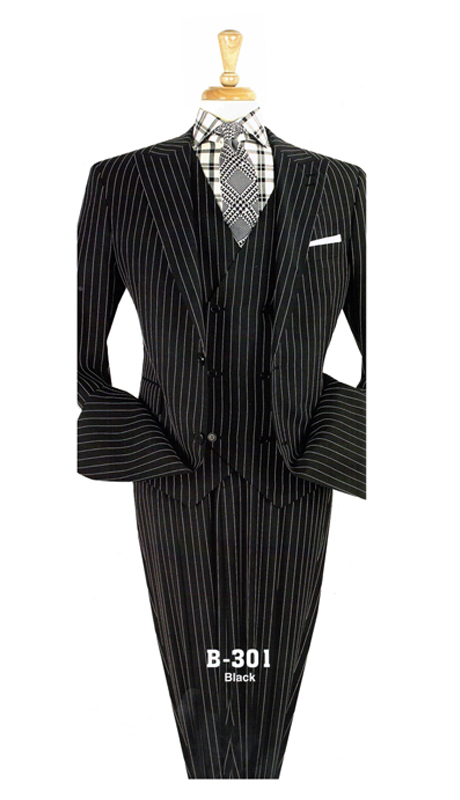 Iconic B-301 ( 3pc High Fashion Suit With Double Breasted Vest And Striped Design )