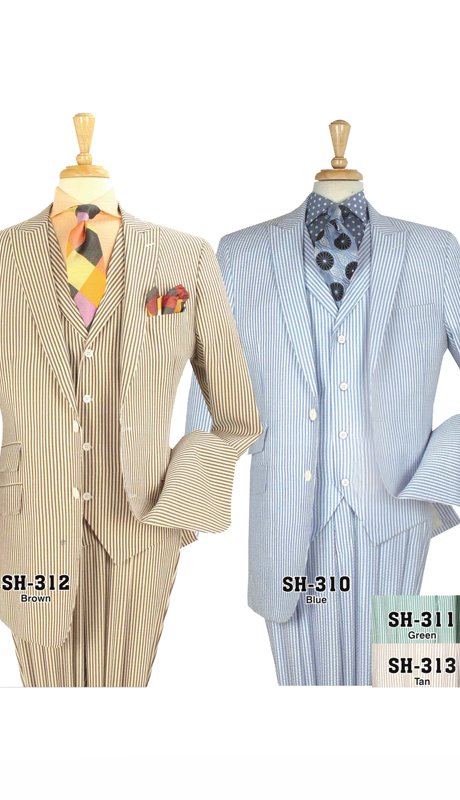 Iconic SH-310 ( 3pc High Fashion Mens Seersucker Suits With Semi Wide Leg Pants )