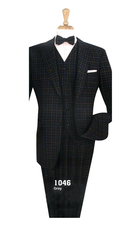 Iconic 1046 ( 3pc High Fashion Suit With Vest And Semi Wide Leg Pants, Super 130's )