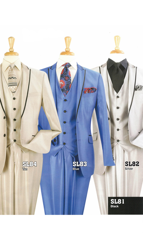 Iconic SL84 ( 3pc  Suits With Vest And Black Lapel Highlight )