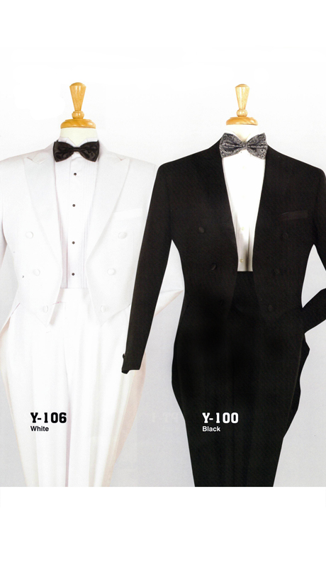 Iconic Y-106 ( 2pc Swallow Tailed Tuxedo With Flat Front Expandable Waist Pants )