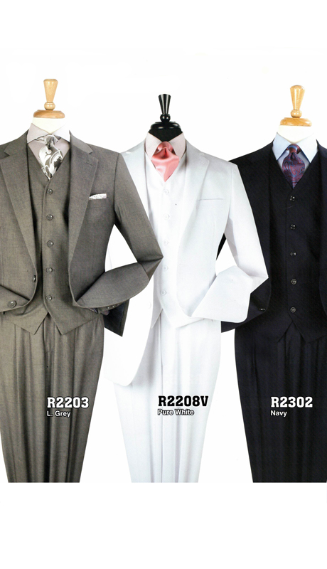 Iconic R2203 ( 3pc 2 Button Business Suit With Side Vents And Pleated Pants )