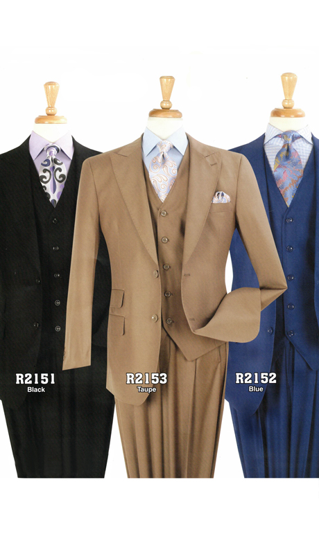 Iconic R2151 ( 3pc Classic Suit With Vest And Pleated Pants, Super 130's )