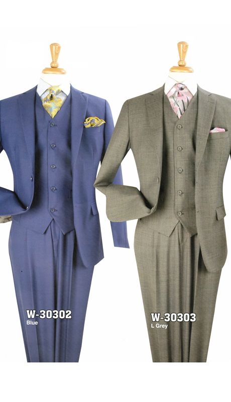 Iconic W-30302 ( 3pc Classic Fit Suit With Pleated Pants, Super 140's )
