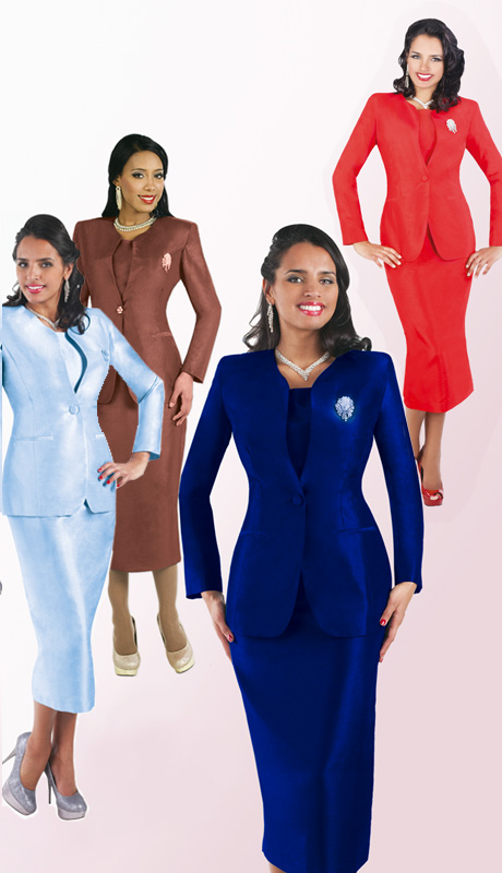 Tally Taylor 4350-CO ( 3pc Shantung Womens Sunday Suit With Jacket, Matching Cami, Straight Skirt And Detachable Brooch )