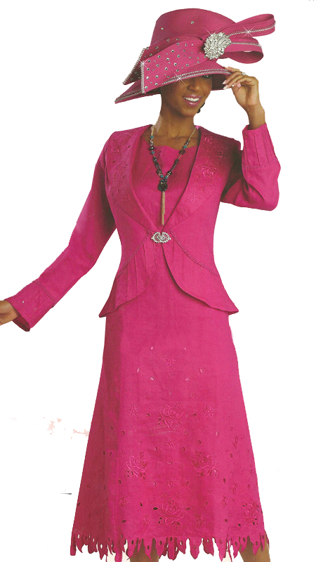 Donna Vinci 4803-CO ( 2pc Exclusive Linen With Ramie Dress For Church With Elaborate Embroidery And Rhinestone Buckle)