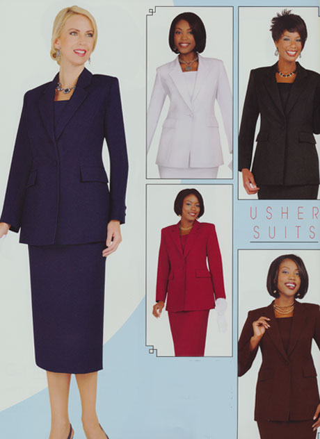 Ben Marc 2295-CO ( 2pc usher suit with single button, jacket and skirt )