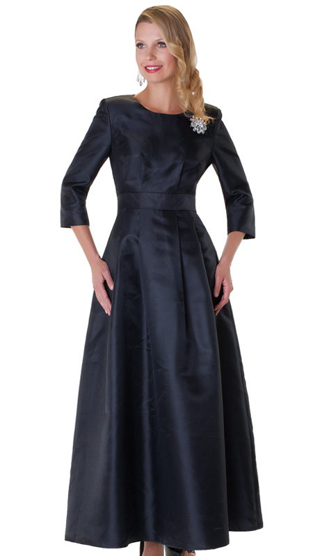Tally Taylor 4497-BLK-CO ( 1pc Womens Long Church Dress With Rhinestone Brooch, Three Quarter Sleeves And Pleated Waist )