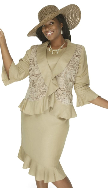 NCS 4710-KH  ( 3pc Ladies Linen Ruffle And Rose Lace Pattern Jacket With Cami And Skirt For Church )