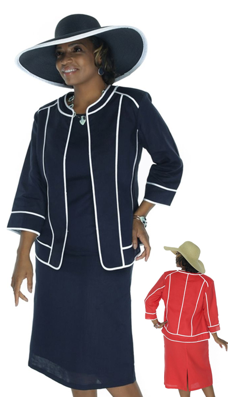 NCS 4721 Navy ( 3pc Contrast Piping Womens Jacket, Cami And Skirt )