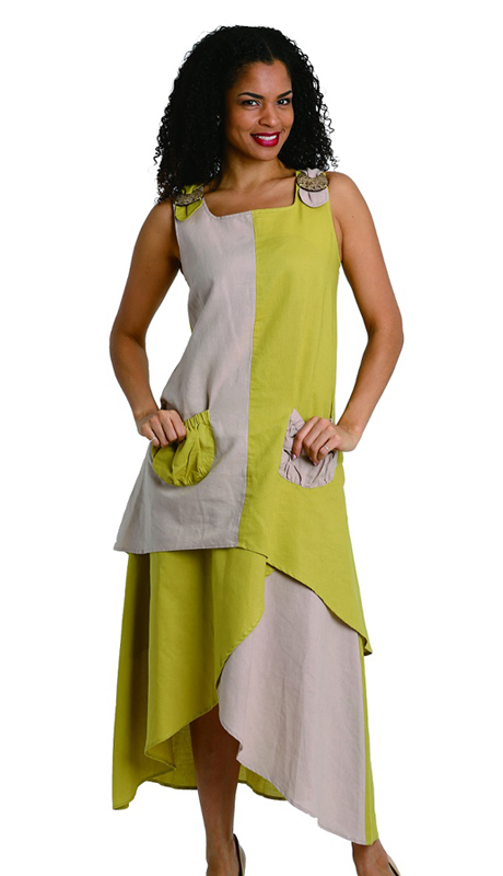 Ella Belle 8210-P ( 2pc Womens Linen Suit With Two Tone Contrasting Colors )