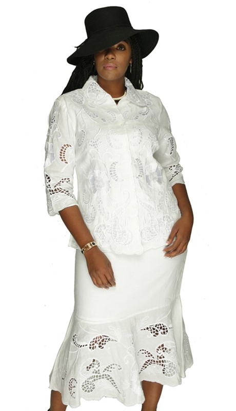 NCS 4343 White ( 2pc Lace Pattern, Button Shirt And Skirt Set For Women )