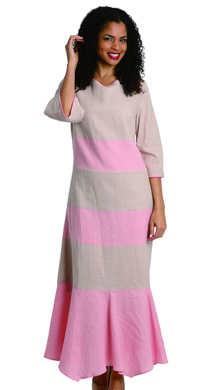 Ella Belle 8212-P ( 1pc Womens Linen Dress With Solid Stripe Pattern )