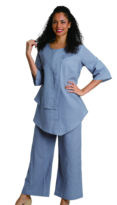 Ella Belle 8220 ( 2pc Womens Linen Pant Suit With Simple Contemporary Design )