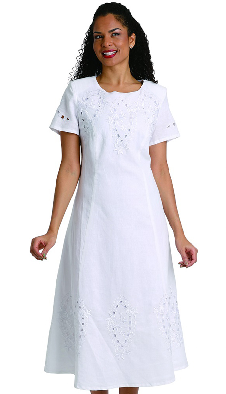 Ella Belle 8236 ( 1pc Womens Linen Dress With Stitched Traditional Design )
