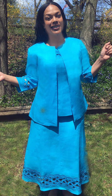 NCS 4585 Turquoise ( 3pc Basket Pattern Jacket, Cami And Skirt For Ladies )