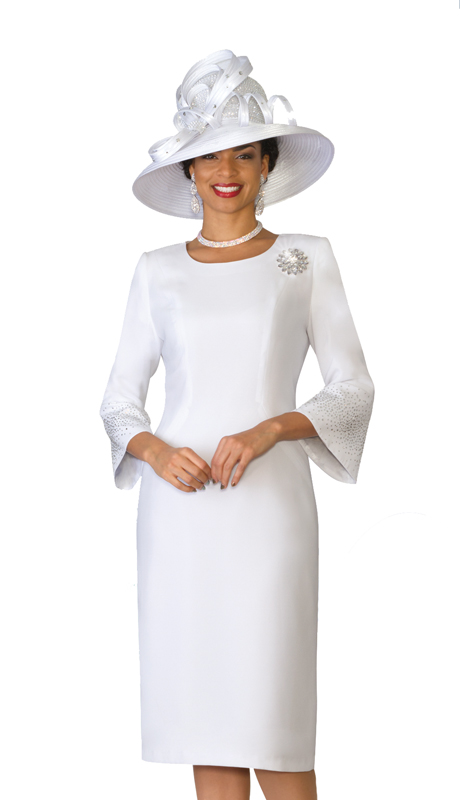 Lily  & Taylor 4092-W-IH ( 1pc French Crepe Church Dress With Bell Sleeves With Rhinestone Embellished )