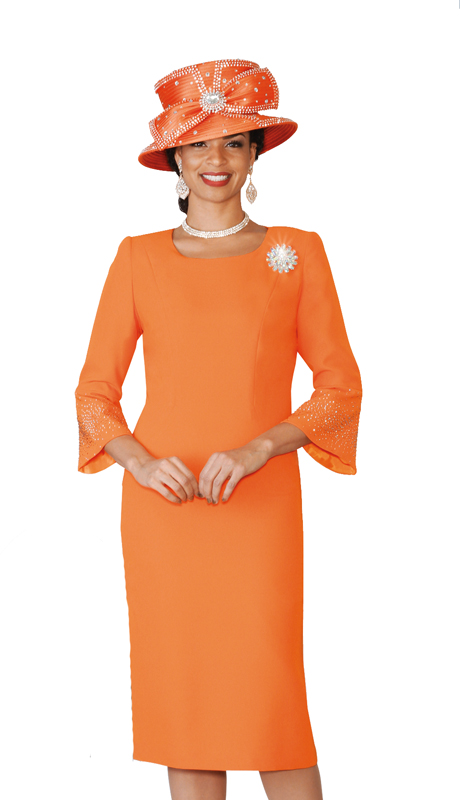 Lily & Taylor 4092-OR ( 1pc Ladies PeachSkin Church Dress With Flared Sleeves Jeweled Trim And Brooch )