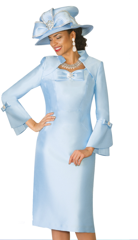 Lily & Taylor 4124 ( 1pc Silk Ladies Church Dress With Bell Sleeves And Bow Adornment )