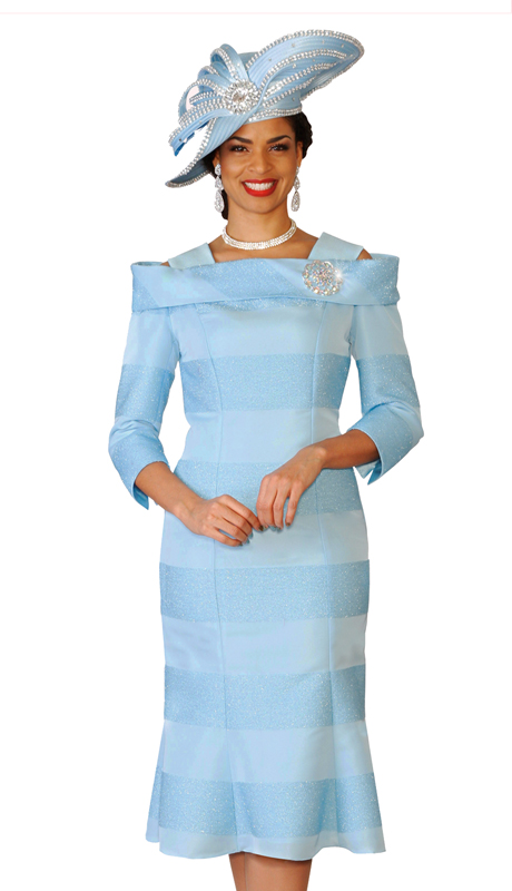 Lily & Taylor 3958 ( 1pc Novelty Church Dress In A Bold Metallic Stripe With Three Quarter Sleeves For The First Lady )