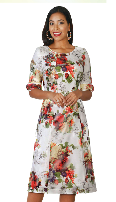 Lily & Taylor 4112 ( 1pc Novelty Church Dress In A floral Print )