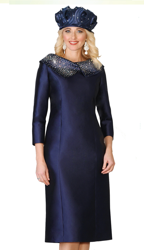 Lily & Taylor 4135-NW ( 1pc Exclusive Silk Church Dress With Rhinestone And Asymmetrical Collar )