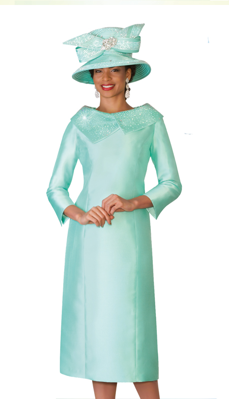 Lily & Taylor 4135-MR ( 1pc Exclusive Church Dress With Asymmetrical Collar With Rhinestones )
