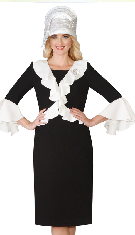 Lily & Taylor 4129-BI ( 1pc French Crepe Church Dress With Front Ruffle inserts With Matching Bell Sleeves )