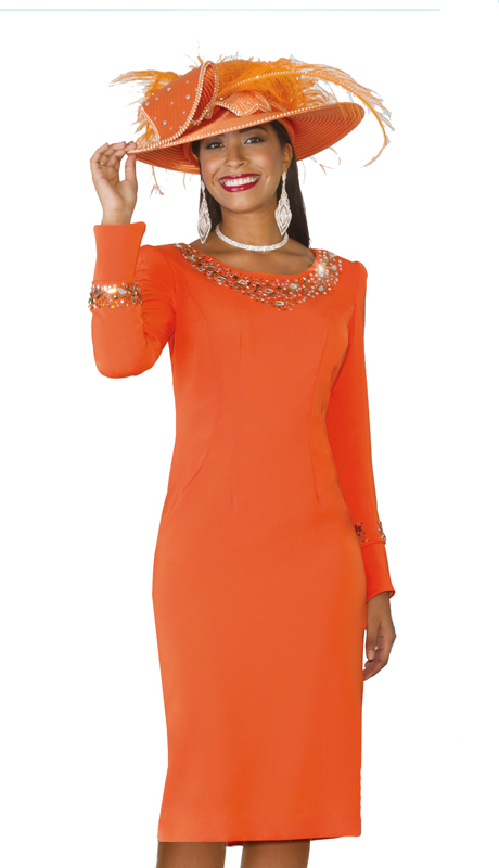 Lily & Taylor 386-IH ( 1pc Exclusive Church Dress With embellished jewelry Neckline and Sleeves )