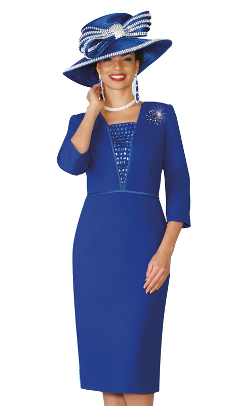 Lily & Taylor 4021-CO ( 1pc Church Dress Rhinestone Embellishment, Three Quarter Sleeves And Brooch )