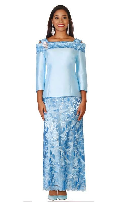 Lily & Taylor 4121 ( 2pc Novelty Silk Cold Shoulder Top With Lace Skirt For Church Or Special Occasion )