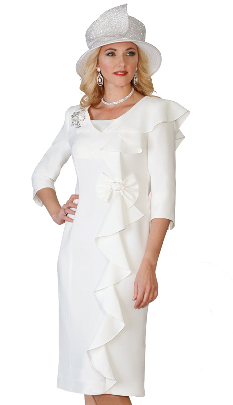 Lily & Taylor 3943-W-CO ( 1pc Exclusive Church Dress With Three Quarter Sleeves and Draped Ruffle With Brooch )