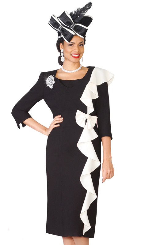 07040f3307ee54 Lily & Taylor 3943-BI ( 1pc Exclusive Church Dress With Three Quarter  Sleeves and