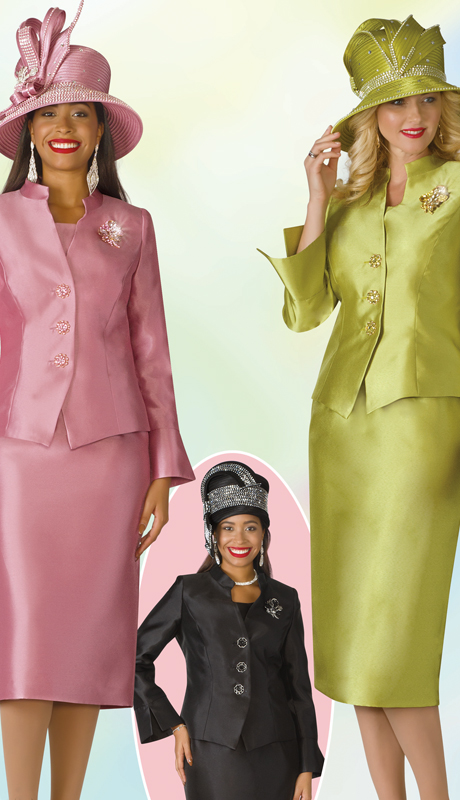 Lily And Taylor 4174-MBA ( 3pc Silk Womens Suit For Church With Brooch And Short Stand Up Collar )