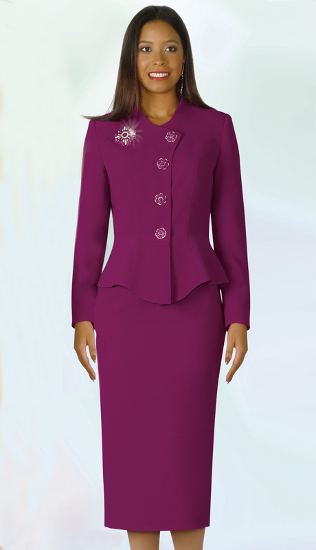 Lily And Taylor 4046-MA-IH ( 2pc Ladies Church Suit With Rhinestone Buttons )