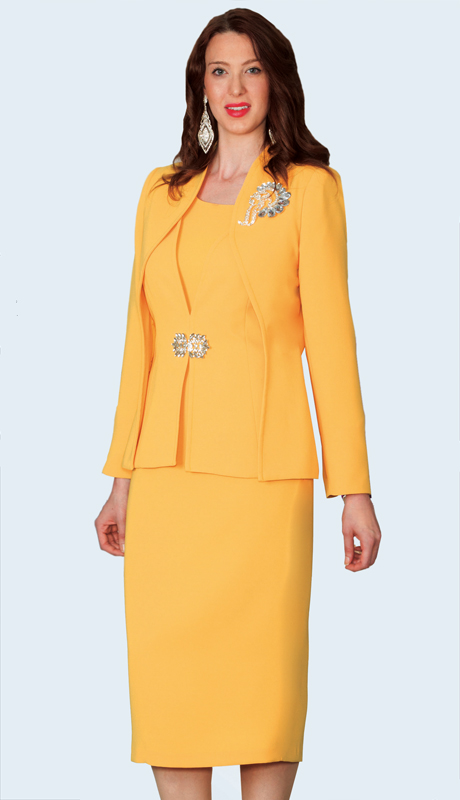 Lily And Taylor 3936-YE ( 3pc PeachSkin Womens Church Suit With Elaborate Brooch )