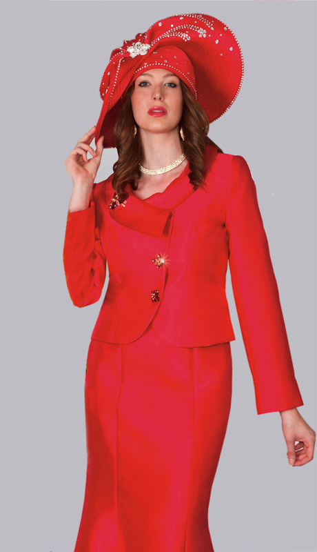 Lily And Taylor 3810-RE ( 2pc Silk First Lady Suit With Print Design And Beaded Trim )