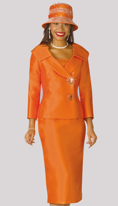 Lily And Taylor 3967-OR ( 2pc Silk Ladies Sunday Suit With Wrap Jacket And Layered Lapels )