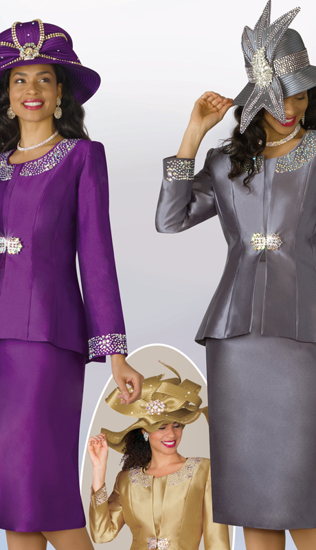 Lily And Taylor 3800-PU ( 3pc Silk Ladies Sunday Suit With Rhinestone Embellished Trims )